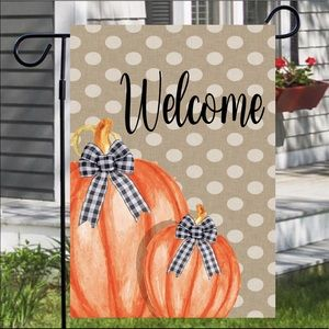 Pumpkin Duo on Burlap Welcome Garden Flag
